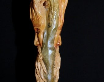 Sculpture hand carved wood arizonica - double-sided