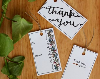 Thank You Gift Tags Printable Handwritten Color Yourself - 10 Count