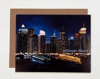 Manhattan Night Cruise Greeting Card