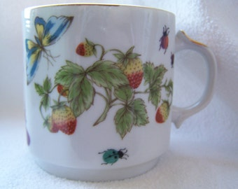 Ardalt Lenwile China Mug with strawberries, butterflies and lady bugs