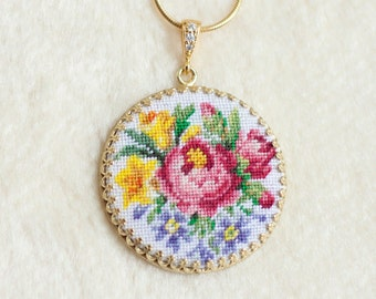 Cilrcle pendant embroidered peony, pink, yellow, blue flowers. PetitPoint jewelry. Miniature embroidery art.