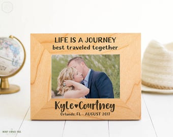 Customized Wood Picture Frame, Life is a Journey, Honeymoon Frame, Location of Travel, Vacation Picture Frame, Vacation Photo, Travel Quote