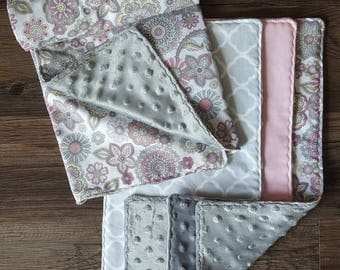 Premium Floral Cotton and Minky Pink and Gray Burp Cloth and Stroller Blanket Set