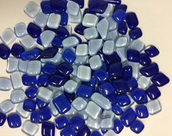 Blue mix/Glass Mosaic tiles/Glass small pebbles/Glass tiles/Mosaic craft/Decorative mosaic/Gems stone |