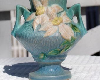 Roseville Pottery Clematis Blue Vase 188-6