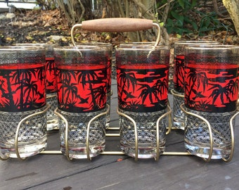 Mid-Century Palm Tree Highball Glasses / Tumblers in Caddy Set of 8
