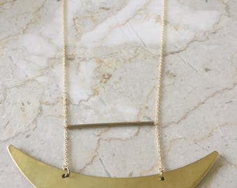 Chunky Arrow Pendent, Brass Necklace, Brass Pendent, Brass, Necklace, Jewelry, Long Necklace, Modern, Chunky Necklace