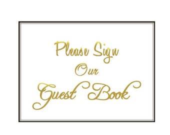 Foil Guest Book Sign, Foil Wedding Sign, Foil Sign, Reception Sign