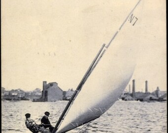 1908 ATLANTIC CITY, New Jersey SAILBOAT Off the Coast, Yachting Series Used, Real Photo Postcard