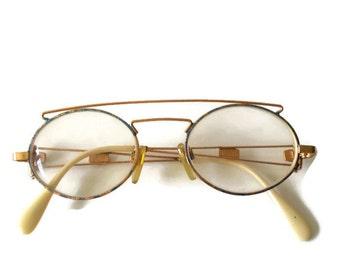 Vintage Round Eyeglasses Womans Vintage full frame eyeglasses Gold metal frame eyeglasses Small glasses Vintage Eyewear