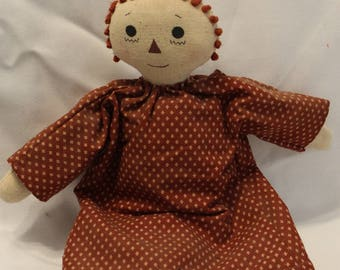 Home Decor- Vintage Handmade Rag Doll with a Rust Printed Dress and Ivory Pantaloons