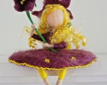 Waldorf inspired needle felted Flower-child (Bell flower girl)