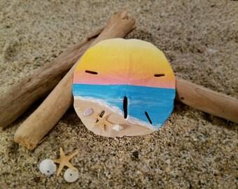Morning at the seashore sand dollar ornament
