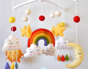 Baby mobile Rainbow Clouds mobile Moon mobile Nursery mobile Cot mobile Crib mobile Sun Stars Hanging mobile Baby shower gift Nursery decor