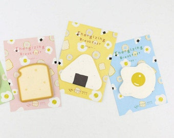 Toast/Eggs Sticky Notes, Post It Notes, Reminder Notes, Memo Pad Stickers