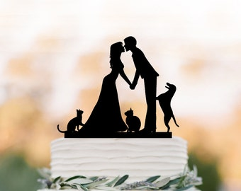 Wedding Cake topper with Cat, Wedding cake topper with dog. Topper with bride and groom silhouette, funny cake topper, family cake topper