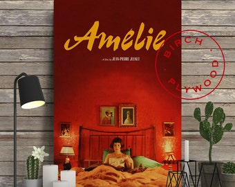 AMELIE Movie - Poster on Wood, Jean-Pierre Jeunet, Audrey Tautou, Print on Wood, Christmas Gift, Gift for Her, Wall Decor, Minimalist Poster