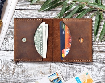 Mens Wallet Leather Wallet Minimalist Wallet Slim Wallet Credit Card Wallet Front Pocket Gift for him Groomsmen gift slim/Gift for father