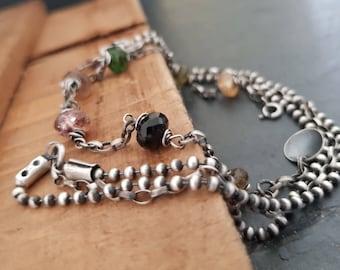 Bracelet- sterling silver & tourmaline