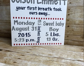 Baby birth announcement sign| birth announcement| nursery sign