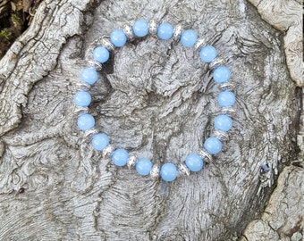 Glass Bead Bracelet with Silver Center Beads