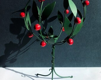 Christmas Holly Candlestick Holder - Red and Green Holly Wire Metal Candle Stick - Christmas Decor / Table Centerpiece / Mantel