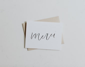 A2 Card 'Merci' // Thank You Card, Hand Lettered Greeting Card, Blank Inside