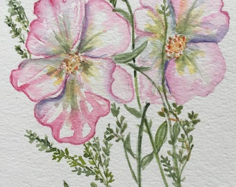 An Original Watercolor, Rugosa Roses and Thyme