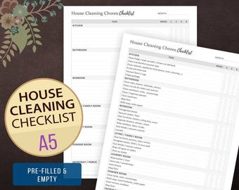 House Cleaning Chores Checklist, Weekly Cleaning Checklist, Chore Chart, House Cleaning, House Keeping, Cleaning List A5, Filofax, Kikki K