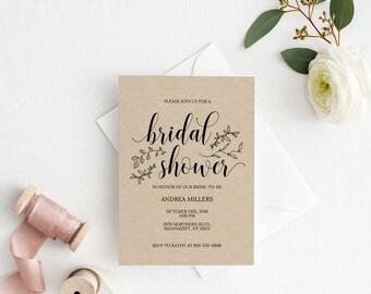 Bridal Shower Invitation Template, Rustic Bridal Shower Wedding Printable, Wedding Shower Template, Shower Invite,PDF Instant Download #E026