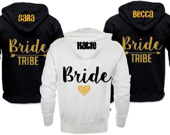 Bridesmaid Hoodie, Bridesmaid Jacket, Bridal Party Hoodies, Bride Tribe, Bachelorette Party Sweatshirts,Bride Jacket, Bride Hoodie,