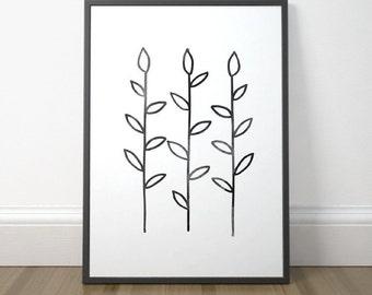 Gallery Wall Decor, Modern Plant Art, Black and White Art, Abstract Minimalist Print, Scandinavian Art, Instant Download, Digital Print