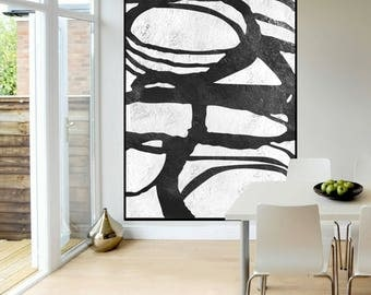 large original abstract painting on canvas modern wall art, Black and White, original Painting, large Abstract art, wall art canvas