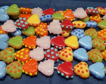 Lampwork Glass Heart and Love Beads