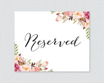 Floral reserved sign | Etsy