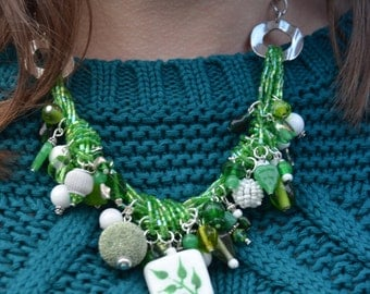 Growing Green cluster necklace