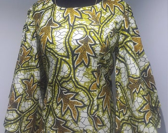 Beautiful African print two layer bell sleeves top