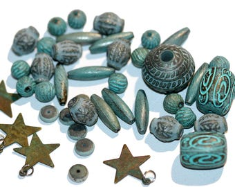 Patina Beads Mixed Lot of 42 Loose Blue Green Verdigris Beads Including 4 Free Patina Star Charm with Jump Rings and Several Spacer Beads