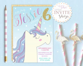 Girls Unicorn Magical Pony Invite | Birthday Party Invitation | Digital Download | Customised Personalised | Printable | Blue Stars