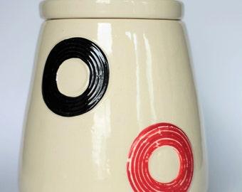 American Bisque Multi-Colored Circles/Rings Cookie Jar