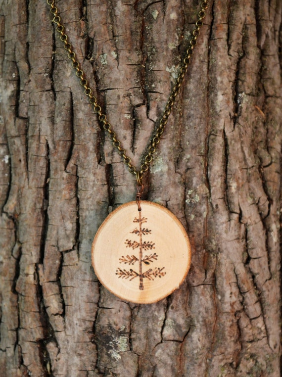 Pine Tree Necklace, Wood Slice Necklace