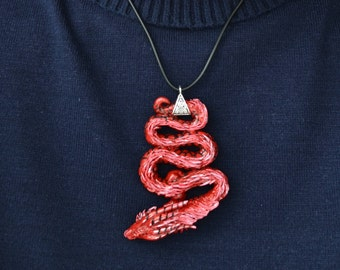 Red Dragon pendant necklace charm polymer clay Figurine handmade fantasy