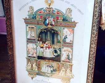 Large antique French reliquary. First communion souvenir. May 1903.