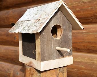 Reclaimed Wood Birdhouse, White Birch Birdhouse, Rustic Birdhouse, Cedar Birdhouse, Wooden Birdhouse, Bird House, Reclaimed Wood Bird House