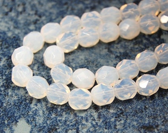 50/pc Milky White Czech 6mm Fire-polished Faceted Round Beads