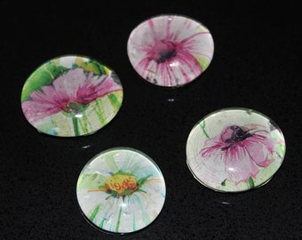 Glass Magnets: Flowers in Bloom