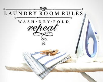 Laundry Room Rules Laundry Vinyl Wall Quote