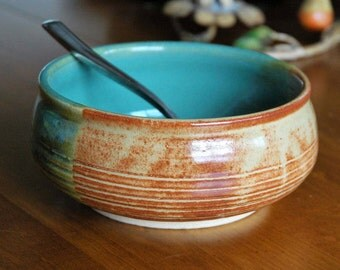 Pottery Cereal Bowl // Tri Color Ceramic Bowl // Handmade Soup Bowl