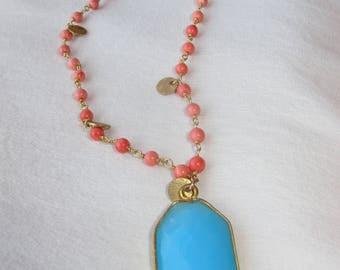 Coral and Teal Long Necklace