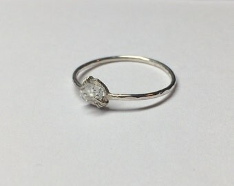 Tiny Herkimer Diamond & Sterling Silver Ring